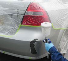 Paint spraying car